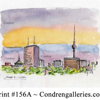 Berlin Skyline 156A pen & ink cityscape watercolor with view of the Fernsehturm.
