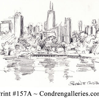 Chicago skyline 156A pencil cityscape drawing overlooking the lagoon in Lincoln Park.