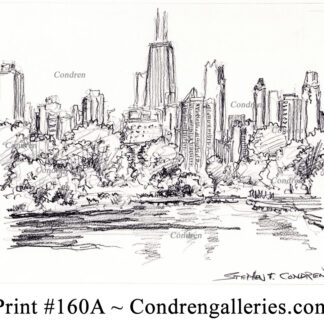 Chicago skyline 160A pencil cityscape drawing with a view of the lagoon in Lincoln Park.