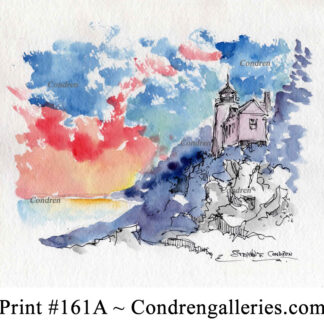 Bass Harbor Head Lighthouse pen & ink landmark watercolor with view of the sunset on the cliff.