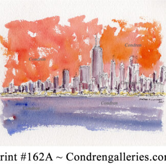 Chicago skyline 162A pen & ink cityscape watercolor with a view of the skyscrapers at sunset.