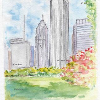 Aon Center 163A landmark watercolor by Stephen Condren.