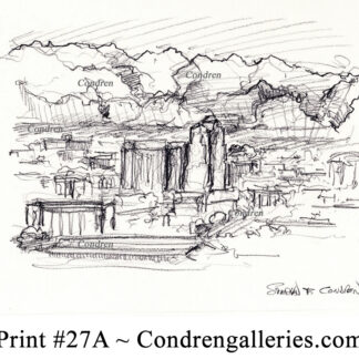 Tucson skyline #27A pencil cityscape drawing with shadowing on the mountains.