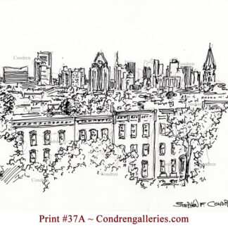 Baltimore Skyline #37A is a pen & ink cityscape drawing with a view of the skyscrapers over neighborhood roofs.