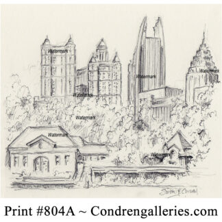 Atlanta skyline #804A pencil cityscape drawing of Midtown and Lake Clara Meer in Piedmont Park by artist Stephen Condren.