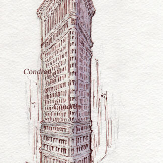 Flatiron Building #846A pen & ink landmark watercolor with intricate detailing of the skyscraper.