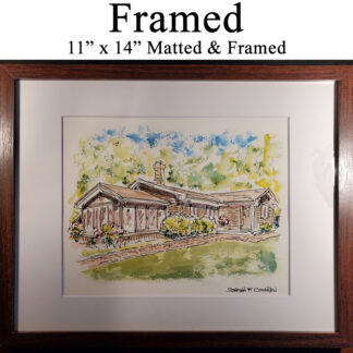 Matted and brown framed house portrait.