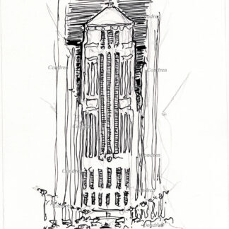 Board of Trade 213A Building Chicago, pen & ink landmark drawing at night by artist Stephen Condren.