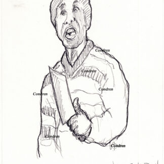 Timothy Foley 149A The Greeter pencil psycho drawing with him holding a meat cleaver.