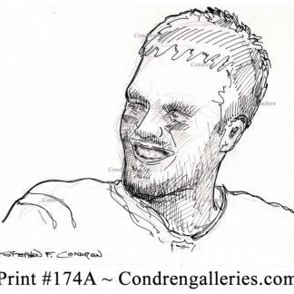 Tom Brady 174A pen & ink celebrity drawing by Stephen Condren.