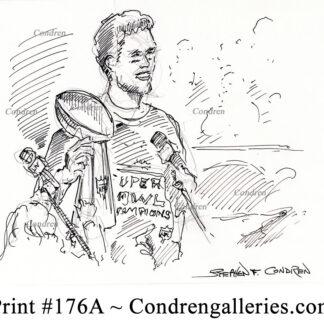 Tom Brady 176A pen & ink celebrity drawing by Stephen Condren.