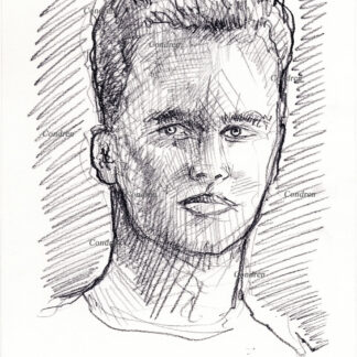 Tom Brady 181A pencil celebrity drawing by artist Stephen Condren.