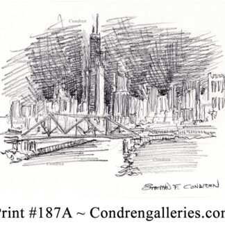 Chicago skyline 187A pencil cityscape drawing by artist Stephen Condren.