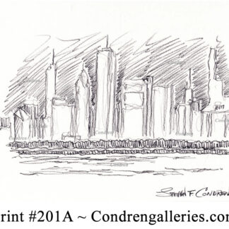 Chicago skyline 201A pencil cityscape drawing by artist Stephen Condren.