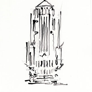 Board of Trade 214A Building Chicago, bamboo & ink landmark drawing by artist Stephen Condren.