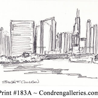 Chicago skyline 183A pencil cityscape drawing by artist Stephen Condren.