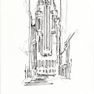 Board of Trade 219A Building Chicago, pen & ink landmark drawing by artist Stephen Condren.