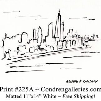 Chicago skyline 225A bamboo & ink cityscape contour line drawing with former John Hancock Center by Stephen Condren.