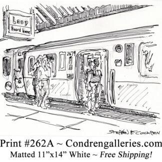 "Chicago ""L"" train 262A as passengers enter pen & ink city scene drawing by Stephen Condren."