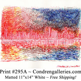 Chicago skyline 295A multi-color pen & ink cityscape drawing of downtown skyscrapers at sunset by Stephen Condren.