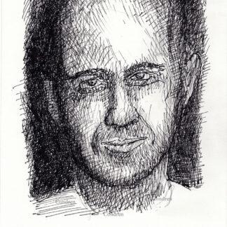 Bruce Willis 307A pen & ink celebrity actor portrait drawing by artist Stephen Condren.