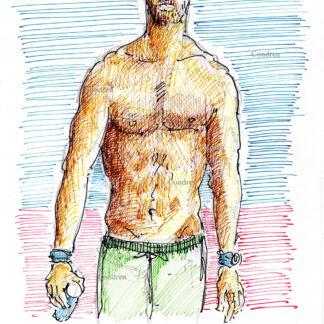 Chris Hemsworth 310A multi-color pen & ink, shirtless celebrity actor torso drawing by artist Stephen Condren.