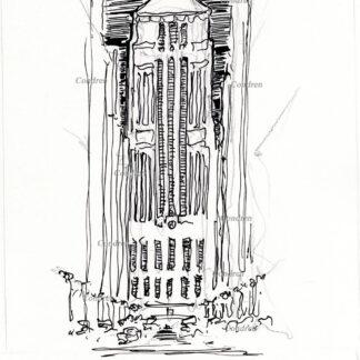 Board of Trade 213A Building pen & ink landmark drawing at night by artist Stephen Condren.