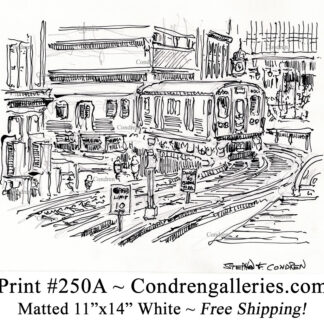 """Chicago """"L"""" train 250A pen & ink city scene drawing of an elevated train on tracks going around the Loop by Stephen Condren."""