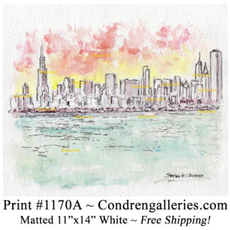 Chicago skyline #1170A pen & ink cityscape watercolor painting at sunset by Stephen Condren.