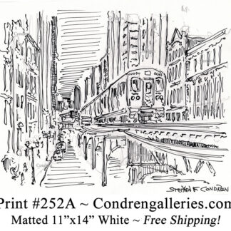 """Chicago """"L"""" train 252A pen & ink city scene drawing of an elevated train going north on Wabash Avenue by Stephen Condren."""