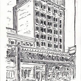 """Chicago """"L"""" train 254A pen & ink city scene drawing of elevated train tracks in front of the Silversmith Building by Stephen Condren."""