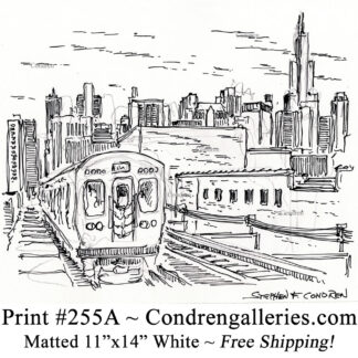 """Chicago """"L"""" train 255A pen & ink city scene drawing of """"L"""" train with downtown skyline behind it by Stephen Condren."""