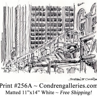 """Chicago """"L"""" train 256A pen & ink city scene drawing with Skyscrapers by Stephen Condren."""
