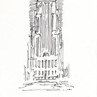 Board of Trade 218A Building Chicago, pen & ink landmark drawing by artist Stephen Condren.