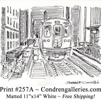 """Chicago """"L"""" train 257A in the Loop on the tracks pen & ink city scene drawing by Stephen Condren."""