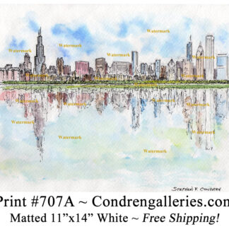 Chicago skyline #707A pen & ink cityscape watercolor from Lake Michigan by Stephen Condren.