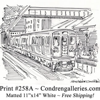 """Chicago """"L"""" train 258A in the Loop at the platform pen & ink city scene drawing by Stephen Condren."""