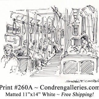 """Chicago """"L"""" train 260A interior with passengers pen & ink city scene drawing by Stephen Condren."""
