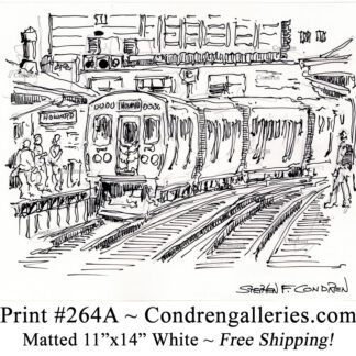 """Chicago """"L"""" train 264A approaching Howard Street platform with passengers waiting pen & ink city scene drawing by Stephen Condren."""