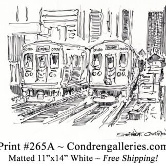 """Chicago """"L"""" train 265A next to Midway train pen & ink city scene drawing by Stephen Condren."""
