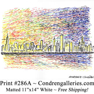 Chicago skyline 286A multi color pen & ink cityscape drawing of downtown skyscrapers at sunset by Stephen Condren.