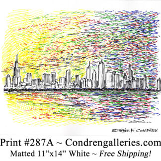 Chicago skyline 287A multi color pen & ink cityscape drawing of downtown skyscrapers at sunset by Stephen Condren.