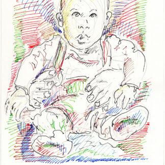 Archie Mountbatten-Windsor 289A multi-color pen & ink celebrity portrait drawing by artist Stephen Condren.