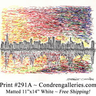 Chicago skyline 291A multi-color pen & ink cityscape drawing of downtown skyscrapers at sunset by Stephen Condren.