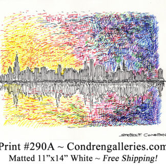 Chicago skyline 290A multi-color pen & ink cityscape drawing of downtown skyscrapers at sunset by Stephen Condren.