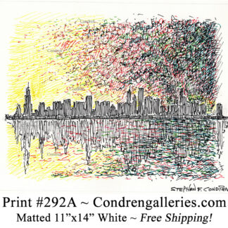 Chicago skyline 292A multi-color pen & ink cityscape drawing of downtown skyscrapers at sunset by Stephen Condren.
