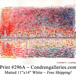 Chicago skyline 296A multi-color pen & ink cityscape drawing of downtown skyscrapers at sunset by Stephen Condren.