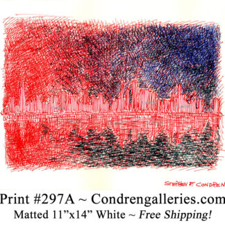 Chicago skyline 297A multi-color pen & ink cityscape drawing of downtown skyscrapers at sunset by Stephen Condren.