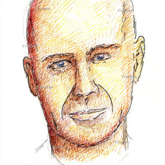 Bruce Willis 306A multi-color pen & ink celebrity actor portrait drawing by artist Stephen Condren.