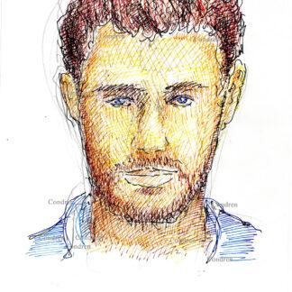 Chris Hemsworth 313A multi-color pen & ink celebrity actor portrait drawing by artist Stephen Condren.